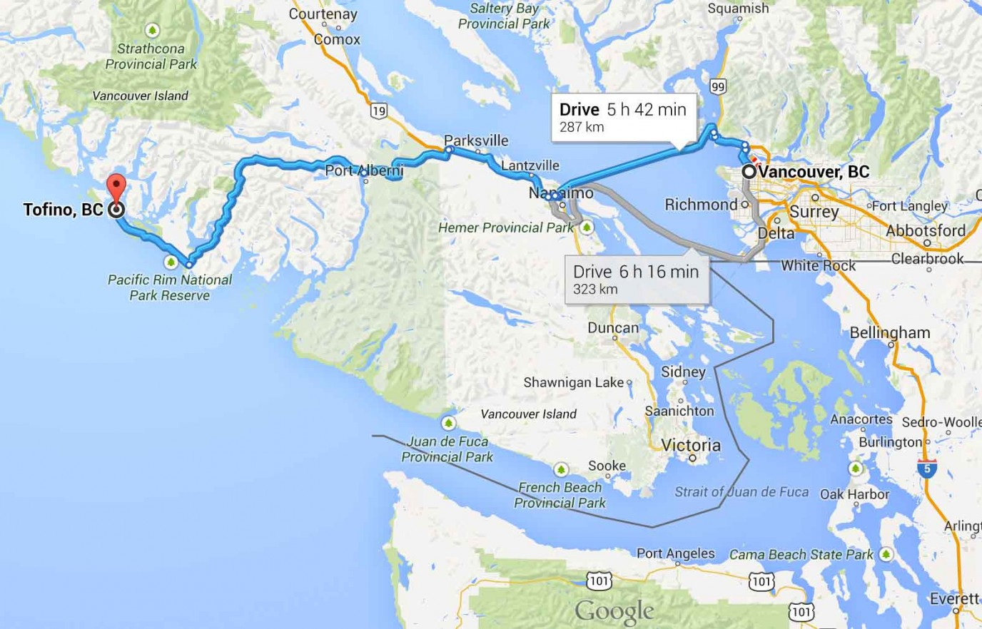 Driving Distance Vancouver Island Bc