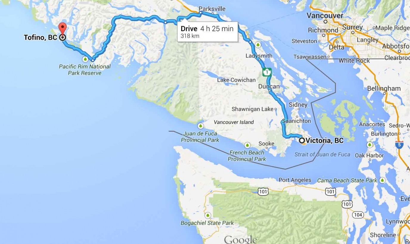 Vancouver Island Driving Map